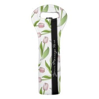 Pink Tulip Floral Patten Modern Chic Personalized Wine Bag