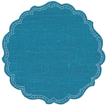 Round Linen Placemat-s/6 | Cyan