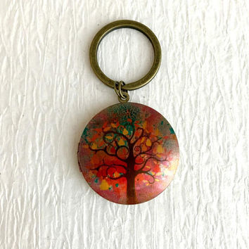 Autumn Tree Locket Keychain, gold modern picture Fall bright colorful trees forest photo birthday teacher gifts gift for her