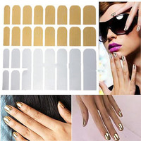 Gold Silver Red Lots 16 PCS Smooth Nail Art Sticker Patch Foils Armour Wraps Decoration