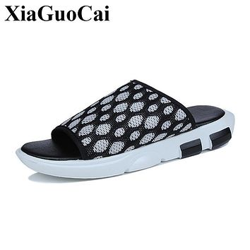Summer Men Slippers Fashion Platform Flats Shoes Breathable Mesh Casual Slippers Mixed Color Antiskid All-match Slippers H337 35