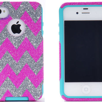 Weekend Sale iPhone 4 Case - iPhone 4 Otterbox Cover - Glitter Hot Pink/Silver Custom Chevron Pattern Case for iPhone 4S - iPhone 4S Cover