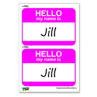 Jill Hello My Name Is - Sheet of 2 Stickers
