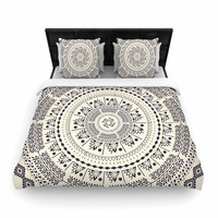 "Famenxt ""Swadesi Soft Boho Mandala"" Beige Illustration Cotton Duvet Cover"