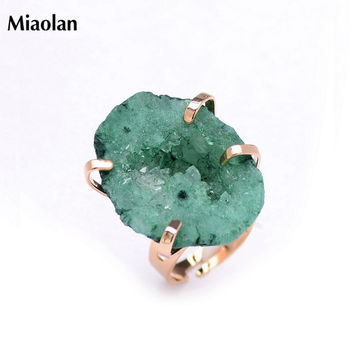 Green 19 Gold Plated Irregular Druzy Raw Stone Stackable Amethyst Rings Women Adjustable Quartz Ring Jewelry