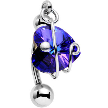 Purple Heart Top Mount Belly Ring Created with Swarovski Crystals