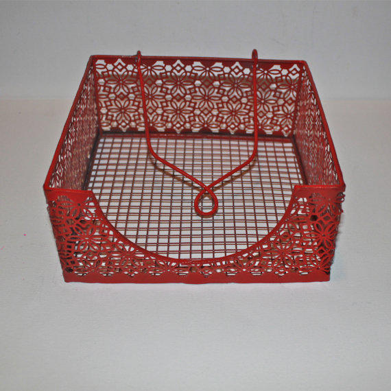 Shabby Chic Kitchen Table Centerpieces: Napkin Holder/ Red /Bright Metal /Shabby From