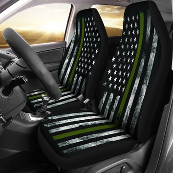 Military Green Thin Line American Flag Seat Covers