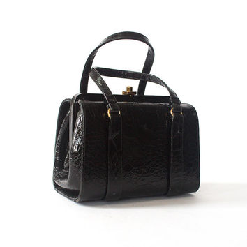 vintage black structured handbag / faux alligator purse / vegan