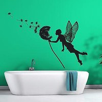 Wall Vinyl Sticker Decal Little Fairy Carries Dandelion Seeds Fly Away Unique Gift (n168)