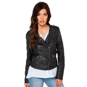 PU Leather Slim Jacket [6407755972]