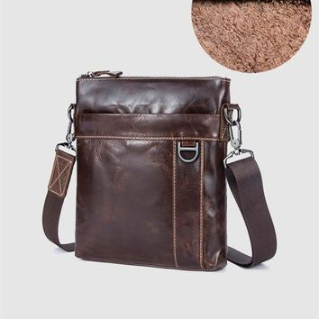 Mens Briefcases Genuine Cowhide Leather Business Shoulder Crossbody Bags Casual Zipper Messenger Bag High Quality Hand #46531