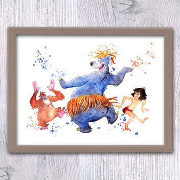 Jungle Book watercolor poster The Jungle Book art print Mowgli and Baloo illustration Nursery room decor Kids room wall art Gift idea V75