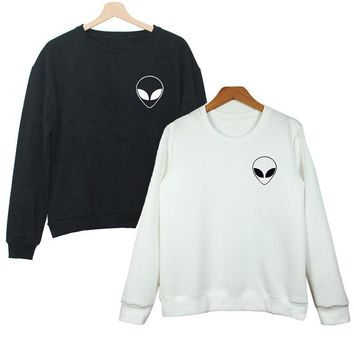 Alien Pull Over Sweater (Black, White)
