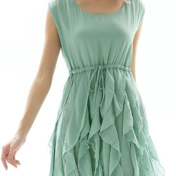 Green Plain Cascading Ruffle Round Neck Mini Dress
