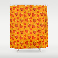 Strawberries All Over Shower Curtain by Good Sense