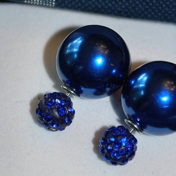 Deep Blue Pearl candy earrings, women's earrings, pearl stud earrings, double sided earrings, silver plated stud earrings, dressy earrings,