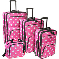 Rockland Luggage Polka Dot Expandable 4 Piece Luggage Set. - eBags.com