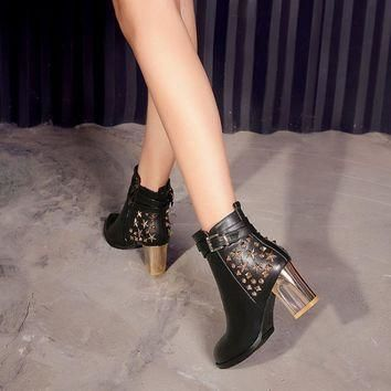 Genuine Leather Star Studded Boots
