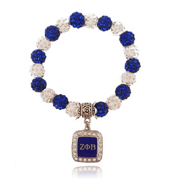 ZETA PHI BETA Sorority Sister Bead Charm Stretch Bracelet