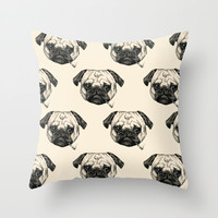 Smoking Pug Pattern Throw Pillow by Beth Zimmerman Illustration