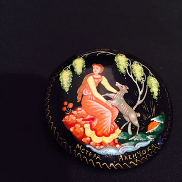 Russian Lacquer Pin Hand Painted Signed