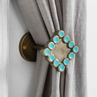 Magical Thinking Textured Diamond Curtain Tie-Back- Turquoise One