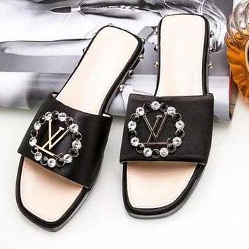LV Louis Vuitton Trending Women Casual Stylish Crystal Rhinestone Sandal Slipper Shoes Black I-ALS-XZ