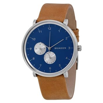 Skagen Hald Blue Dial Tan Leather Mens Watch SKW6167