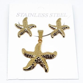 4-9058-f210 18kt Gold Layered Over Stainless Steel Starfish Earring and Pendant Set. 30mm pendant, 20mm earrings.