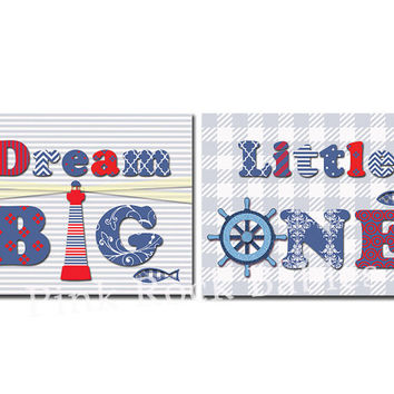 Nautical nursery wall art dream big little one quotes baby boy room decor newborn artwork kids poster new baby shower gift anchor red blue