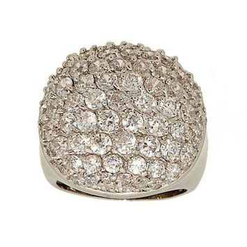 Huge Pave Cubic Zirconia Statement Dome Ring with Seventy Stones
