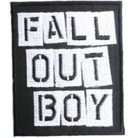 "FALL OUT BOY Logo Iron On Sew On Rock Emo Embroidered Patch pprox: 3""/8cm x 2.5""/6.5cm By MNC Shop"