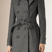 Funnel Neck Wool Cashmere Trench Coat