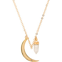 Filled Moonstone Necklace & Moon in Gold