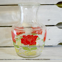 Glass Carafe by Anchor Hocking , Red and Green Colors , Patio and Garden Glassware