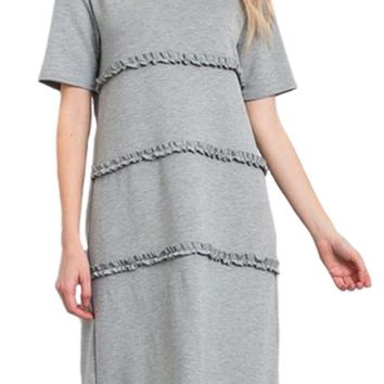French Terry Midi Dress With Shirring Accents