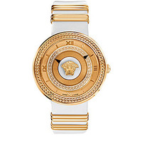 Versace Greek Chain White Leather Strap Watch - White