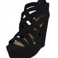 Berta! By Soda Strappy Platform Wedge with Back Zipper, black nubuck leatherette, 5.5 M