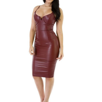 Burgundy Mamba Bodycon Dress