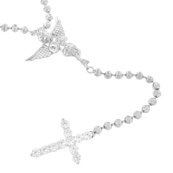 New Angel Cross Rosary Necklace Chain Sterling Silver Lab Created Diamond Cherub