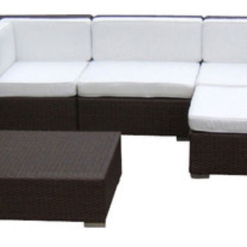 2016 Luxury Living Room Outdoor Wicker Sofa Sectional 7Piece Couch Set