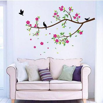 kitchen wall sticker tree home dector Flowers And Birds PVC Wall Stickers Decal Removable Art Vinyl Decor for kids room