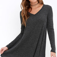 There Goes My Heart Dark Grey Swing Dress