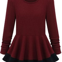 Sheinside Long Sleeve Slim Ruffle Mini Dress T-Shirt (S, Red)