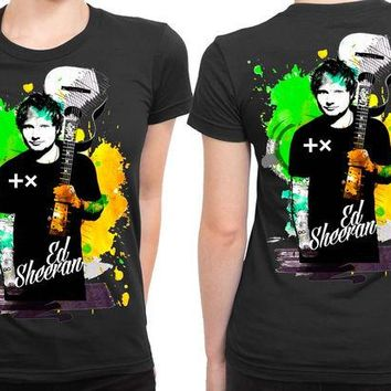 DCCKL83 Ed Sheeran Poster Afiretami 2 Sided Womens T Shirt
