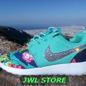 wmns custom nike roshe run shoes with fabric floral aqua green color sneakers blinged with swarovski rhinestones