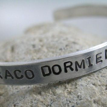 Harry Potter Bracelet - Draco Dormiens Nunquam Titilandus - Hand Stamped 1/4-inch Aluminum cuff - customizable