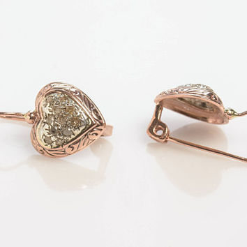 Diamond earrings - Heart Shaped Drop Earrings with Rose Cut Diamonds in 14K Rose Gold Rose Gold Wire back with hook and lever