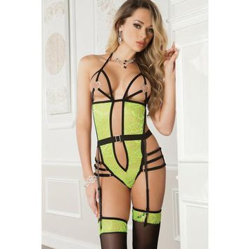 Strappy Teddy w/Open Heart Detail Cups w/Lace Front Connected to Garter Belt & Stockings Highligh